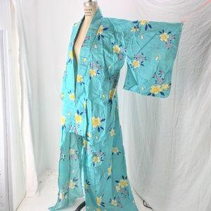 "Japanese 64 ""L Floral Festival Yukata Kimono Robe"